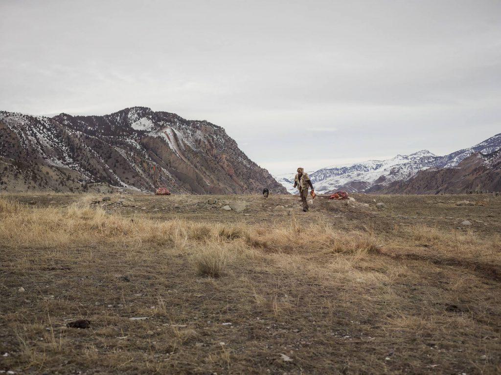 Alex retrieves a buffalo heart from a carcass as Shadow follows.